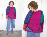 Hand Knit Color Blocked Wool Sweater | XL