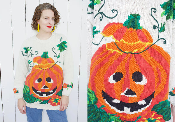 Hand Knit Jack-O-Lantern Sweater | XL