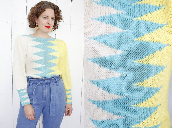 Hand Knit Zig Zag Sweater | Large