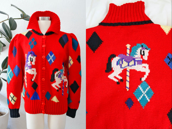 SOLD Berek Hand Knit Carousel Wool Cardigan L|XL
