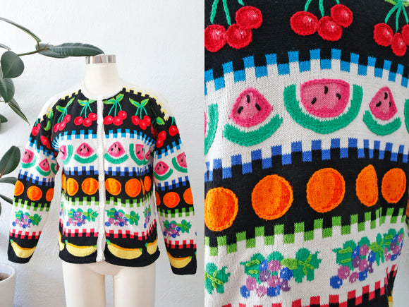 SOLD Hand Knit Fruit Cardigan | Medium