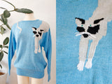SOLD Hand Knit Cat Sweater L|XL