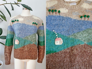 SOLD Hand Knit House Sweater | Large