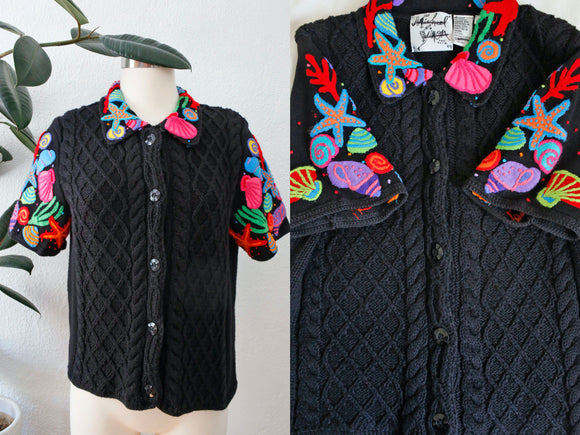 SOLD Michael Simon Seashell Cardigan | Medium