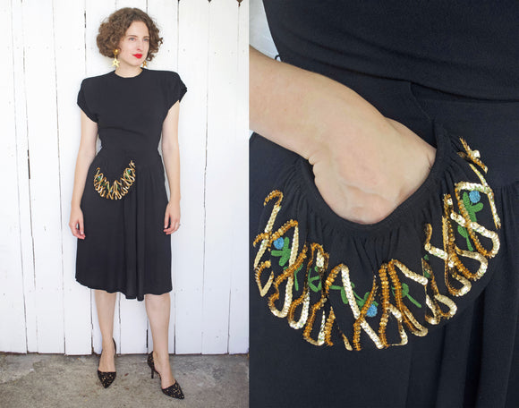 Black Crepe 40s Party Dress | Small - Coast to Coast Mobile Vintage