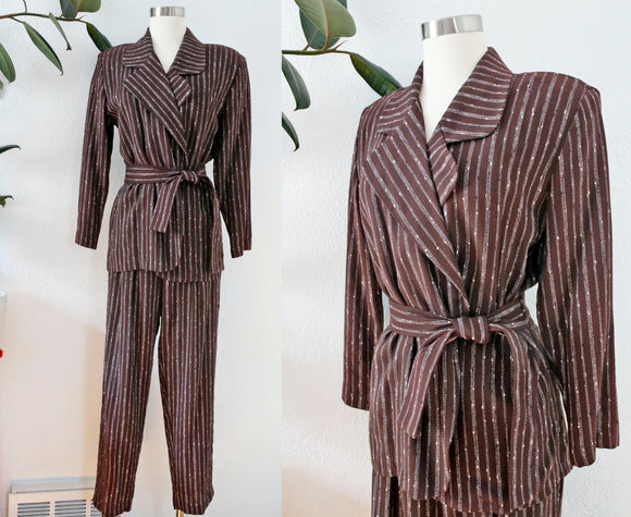 Belted Brown Striped Suit | Medium