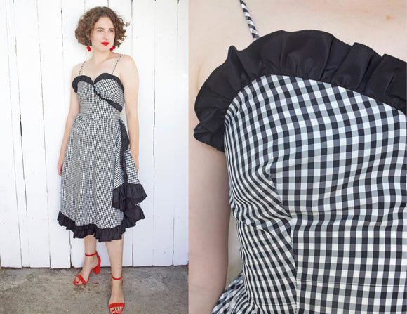 Gingham Ruffle Party Dress | Small - Coast to Coast Mobile Vintage
