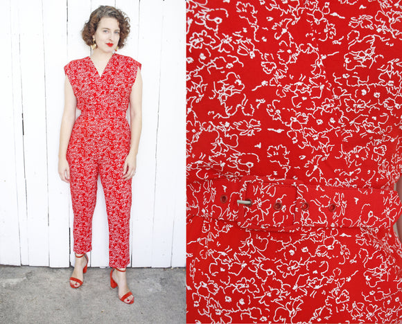 SOLD Red Floral Print Jumpsuit | Medium
