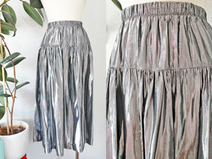 Liquid Silver Metallic Skirt S|M