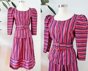 Thai Silk Striped Two Piece Set | Medium