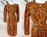 Maggy London Silk Tiger Print Belted Dress | Medium