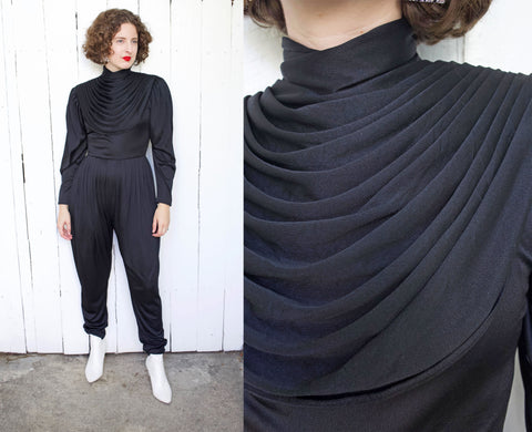 Avant Garde Black Draped Jumpsuit | Medium