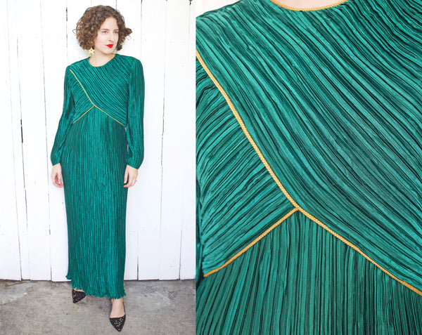 Deep Emerald Green Accordion Pleated Holiday Dress | Large