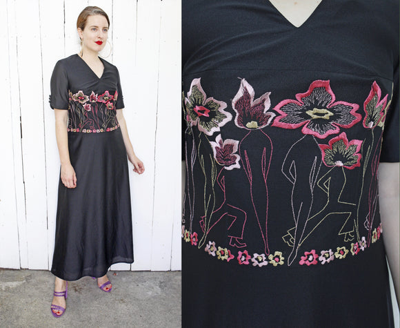 Embroidered Flower People Dress | Medium