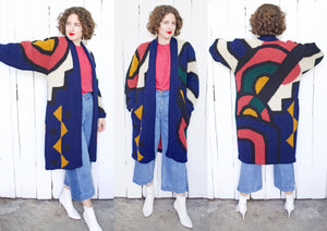 Abstract Colorful Wool Blend Sweater Jacket | Large