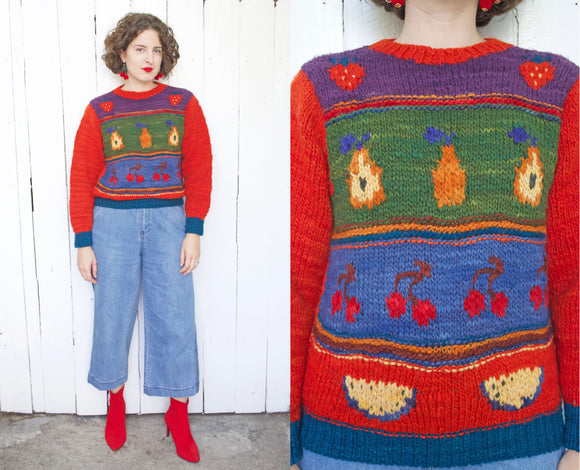 Fruit Pattern Virgin Wool Handspun Sweater | Large