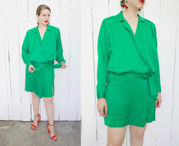 Emerald Green Silk Dress | Medium
