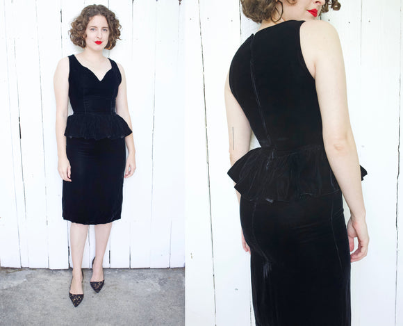 Black Silk Velvet Peplum Dress | Small