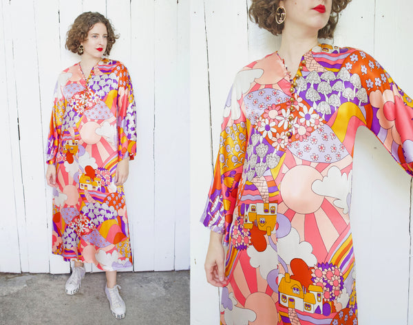 One of a Kind Peter Max Inspired Print Dress S|M