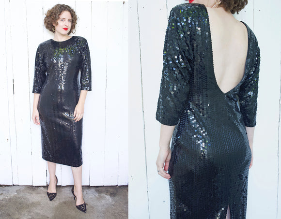Black Oleg Cassini Sequin Midi Dress M|L