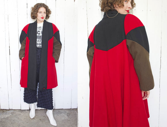 Open Wool Color Block Swing Coat | Large