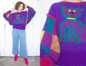 Jeanne Marc Rare Colorful Mohair Blend Cat/Dog Sweater L|XL