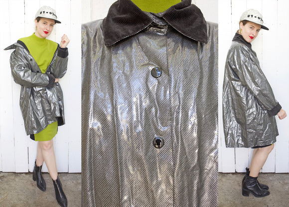 Silver Vinyl Raincoat | XL