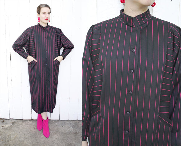 Magenta Striped Wool Dress | Large