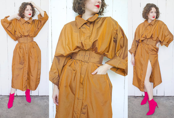 SOLD Belted Metallic Ochre Jacket | One Size Fits Most