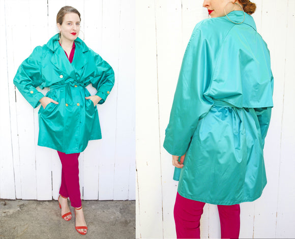 Ledel Paris Teal Green Trench Coat L|XL