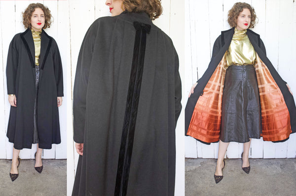 Black Wool Coat with Ombre Striped Lining L|XL