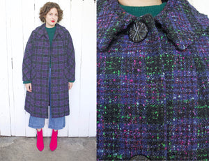 SOLD Green + Purple Plaid Wool Coat | XL