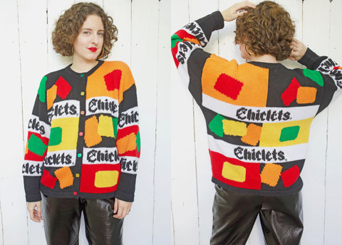 Chiclet Hand Knit Cardigan Sweater L|XL