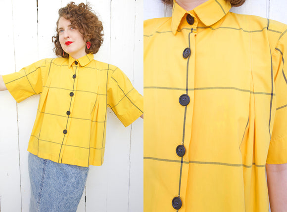 Cute Yellow Cotton Blouse | Medium