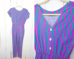SOLD Teal and Fuschia Purple Striped Jumpsuit S|M