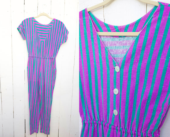 Teal and Fuschia Purple Striped Jumpsuit S|M