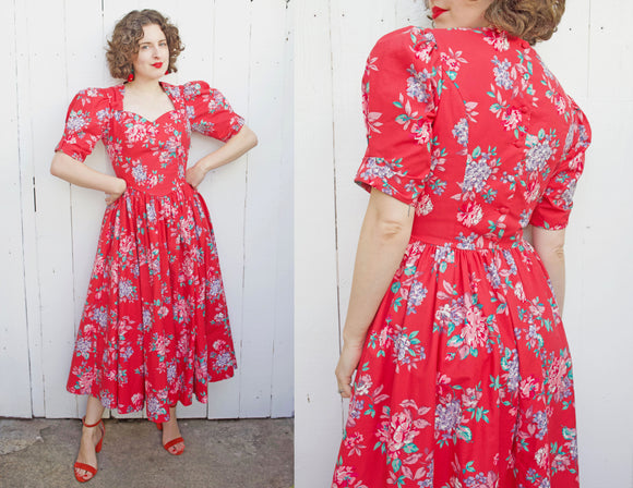 Laura Ashley Red Floral Dress | Medium