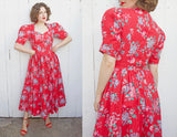 SOLD Laura Ashley Red Floral Dress | Medium