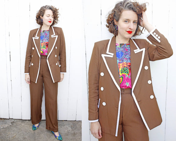 Mocha Double Breasted Pant Suit | Medium