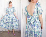 SOLD Laura Ashley Blue Floral Dress | Small