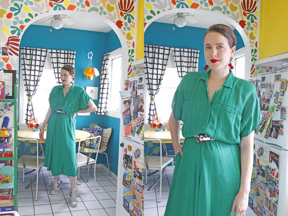 Carol Anderson Emerald Green Shirtdress | Medium