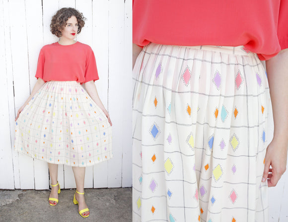 Pastel Pattern Silk Skirt | Medium 28