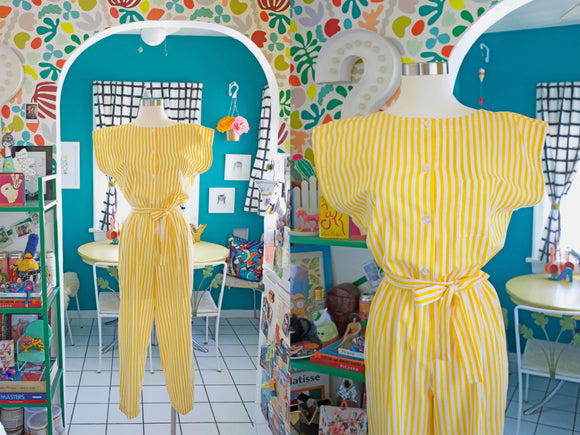 SOLD Golden Yellow Striped Jumpsuit S|M