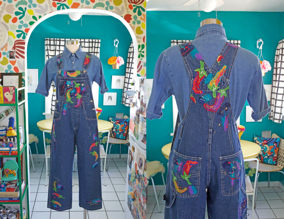 Hand Painted Denim Overalls | Medium