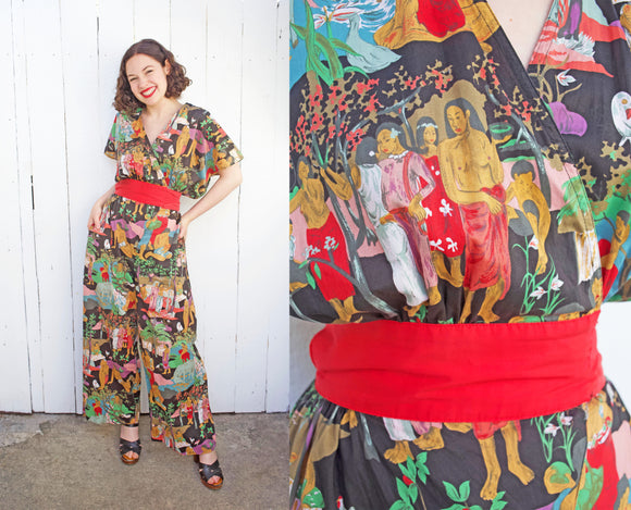 SOLD Gauguin Inspired Cotton Jumpsuit | Small
