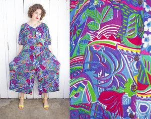 SOLD Tropical Print Jumpsuit | XXL