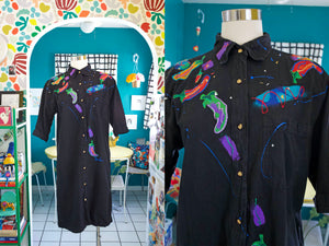 Hand Painted Chile Pepper Shirtdress | Large