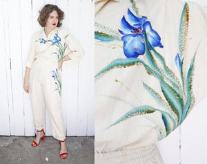 SOLD Hand Painted Raw Silk Jumpsuit | Large