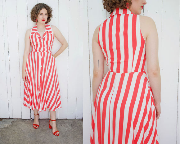 SOLD Red Striped Sundress | Small