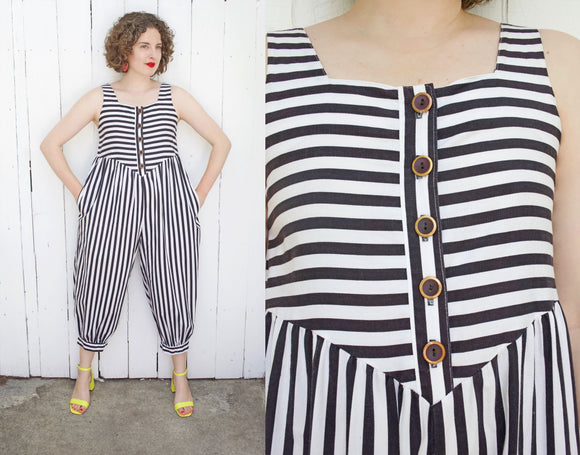 SOLD Striped Cotton Jumpsuit | Medium